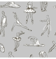 sketch of girls ballerina seamless pattern vector image