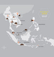Southeast asia map with country and capital vector image