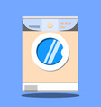 washing machine on blue background flat design vector image