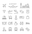 Airport Line Icons and Symbols Set vector image