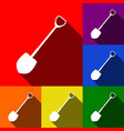 shovel to work in the garden  set of icons vector image
