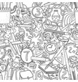 cartoon doodles hand drawn school seamless vector image vector image
