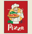 banner with inscription pizza and winking chef vector image