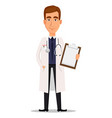 young professional doctor holding blank clipboard vector image