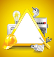 Electricity tools around warning triangle vector image