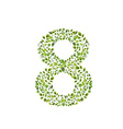 Spring green leaves eco number 8 vector image vector image