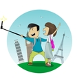 Cartoon boy and girl posing together making selfie vector image