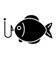 fishing 2 - fish icon blac vector image
