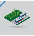 isometric city - two buses on road and trees vector image