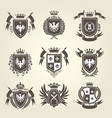 medieval royal coat of arms and heraldic emblems vector image
