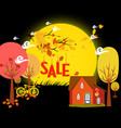 sales autumn with background leaves falling and vector image