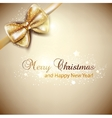 Elegant Christmas background with golden bow vector image vector image