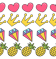 Pink heart crown diamond pineapple Quirky cartoon vector image