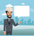 manager man construction bubble speech and urban vector image