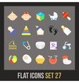 Flat icons set 27 vector image