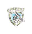 Cricket Player Batsman Batting Shield Etching vector image vector image