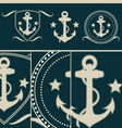Anchors vintage set vector image