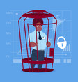 african american business man in cage prisoner vector image