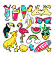 fashion patches in cartoon 80s-90s comic style vector image