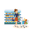 girl dials products make purchase at store vector image