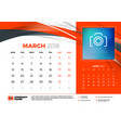 march 2018 desk calendar design template with vector image