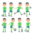 Soccer football players playing ball set of vector image