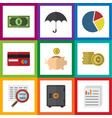 Flat exchequer set of cash parasol money box and vector image