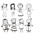 Cartoon women in different traditional costumes vector image