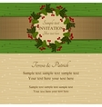 Christmas invitation green and beige vector image