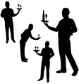 waiters silhouettes vector image