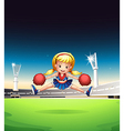 A little cheerleader in the field vector image