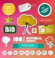 BIO - 100 Natural Labels Set on Blurred Background vector image
