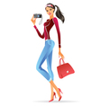 Fashion model presenting a new digital camera vector image
