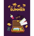 Flat design style travel luggage poster Travel vector image
