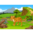 funny Cheetah cartoon in the jungle vector image