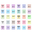 plane set black icon on color sticker vector image