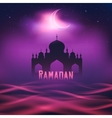 Silhouette of a mosque in the moon night vector image