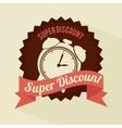 super discount clock brown sticker banner design vector image