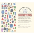 Many object purchased in the shop Shopping circle vector image