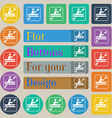 canoeing icon sign Set of twenty colored flat vector image