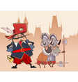 cartoon funny soldier the Musketeer and the guards vector image