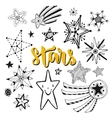Star doodles isolated set Sketchy hand drawn vector image