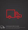 truck outline symbol red on dark background logo vector image