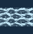 seamless pattern with fishes different species vector image