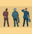 three retro businessman standing back vector image