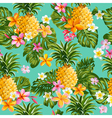 Pinapples and Tropical Flowers Background vector image