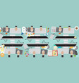 8000x3200 pixel flat view business workplace with vector image