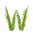 Alphabet letter W elegant flower blooming vector image