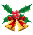 christmas holly leaf with bells vector image