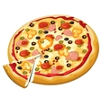 Delicious pizza with olives ham and sweet pepper vector image